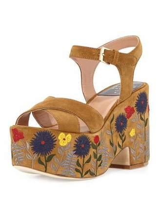 Laurence Dacade Helissa Embroidered Platform Sandal, Camel $860 thestylecure.com
