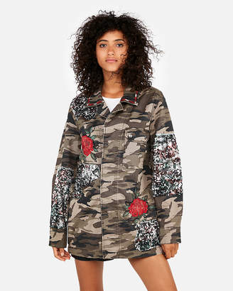 Express Camo Sequin Floral Embroidered Jacket