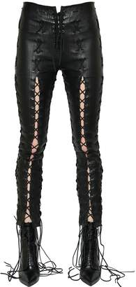 Unravel Skinny Lace-Up Stretch Leather Pants