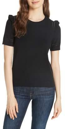 Kate Spade ruffle sleeve cotton cashmere sweater