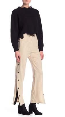 Dress Forum Button Panel Striped Pants