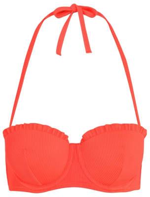 Coral Neon Ribbed Multiway Balcony Bikini Top