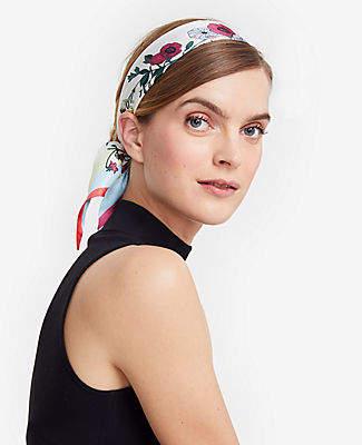 Ann Taylor Floral Silk Skinny Scarf