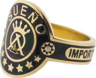 Foundrae Dream Black Enamel Champleve Cigar Band Ring