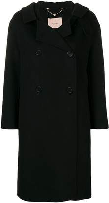 Twin-Set hooded midi coat