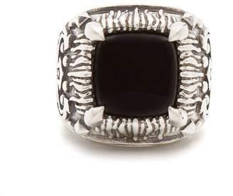 Emanuele Bicocchi Onyx Embellished Sterling Silver Ring - Mens - Silver Multi