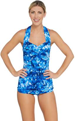 Miraclesuit Dreamshaper By DreamShaper by Caitlin Ruched Halter Swimsuit