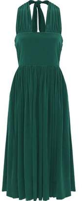 Rochas Gathered Silk-georgette Halterneck Midi Dress