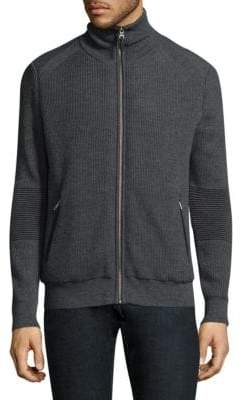 The Kooples Ribbed Zip-Up Sweater
