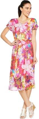 Isaac Mizrahi Live! Photoreal Floral Print Cold Shoulder Midi Dress