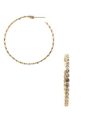 Artisan Women's Classy Sapphire & 18K Gold Hoop Earrings