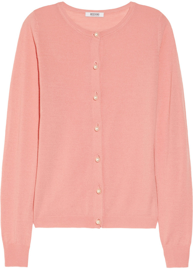 Moschino Cheap & Chic Moschino Cheap and Chic Faux pearl-embellished wool cardigan