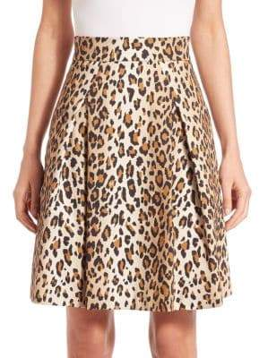 Carolina Herrera Cheetah-Print Stretch Cotton Skirt