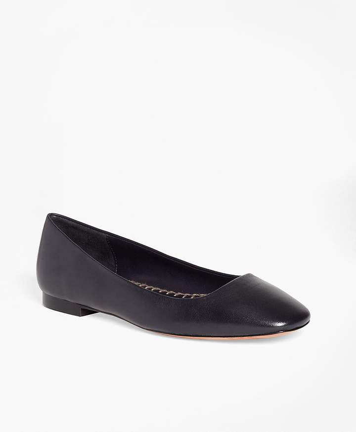 Brooks Brothers Leather Square-Toe Flats