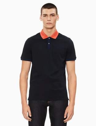 Calvin Klein regular fit liquid cotton contrast polo shirt
