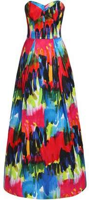 Milly Strapless Printed Cotton-Blend Gown