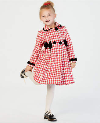 Blueberi Boulevard Little Girls 2-Pc. Houndstooth Coat & Velvet Dress Set