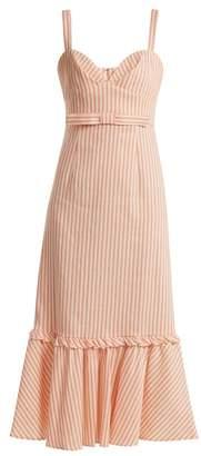 Luisa Beccaria Bow Detail Linen Blend Striped Dress - Womens - Pink Stripe