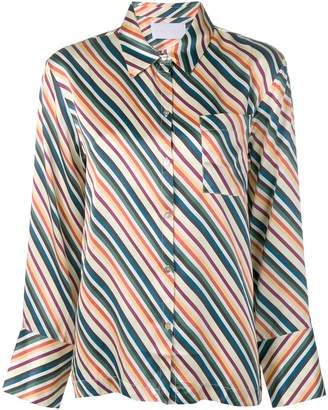 Asceno diagonal stripes silk pajama top