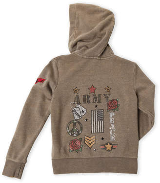 Butter Shoes Girls 7-16) Army Embellished Zip Hoodie