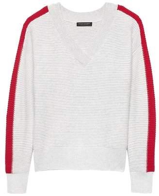Banana Republic Cashmere Stripe Varsity Sweater