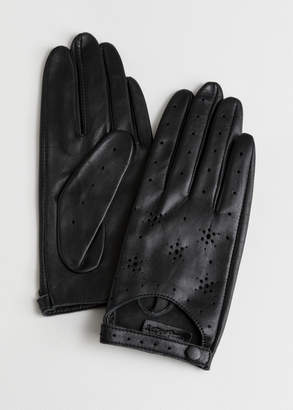 Star Perforated Leather Gloves