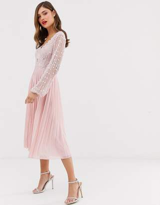 Frock and Frill long sleeve pleated midi dress with embellished upper