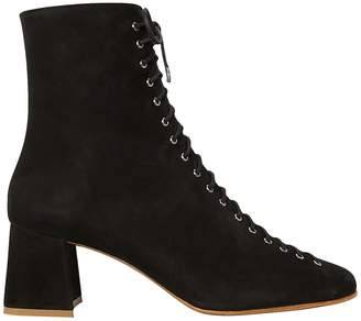 BY FAR Becca Lace-Up Suede Booties