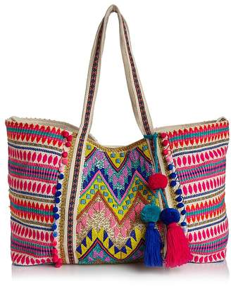 Aqua Multi Bright Embellished Canvas Tote - 100% Exclusive