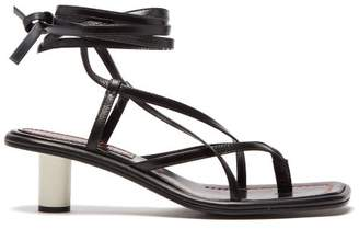 Proenza Schouler Cylindrical Heel Wrap Around Leather Sandals - Womens - Black