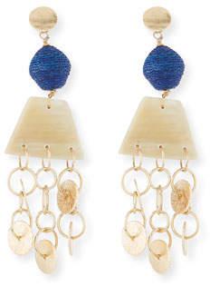 Akola Horn, Raffia and Triple Chain Dangle Earrings