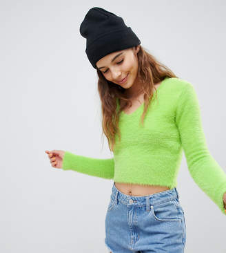E.L.K fluffy knit crop top in neon