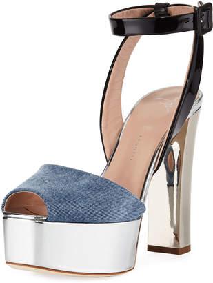 Giuseppe Zanotti Denim Platform Ankle-Strap Sandal