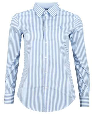 98be283f2d1 Polo Ralph Lauren Stretch Slim Fit Striped Shirt Colour: WHITE AND BLU