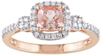 JCPenney FINE JEWELRY Cushion-Cut Genuine Morganite & Diamond 10K Rose Gold Ring
