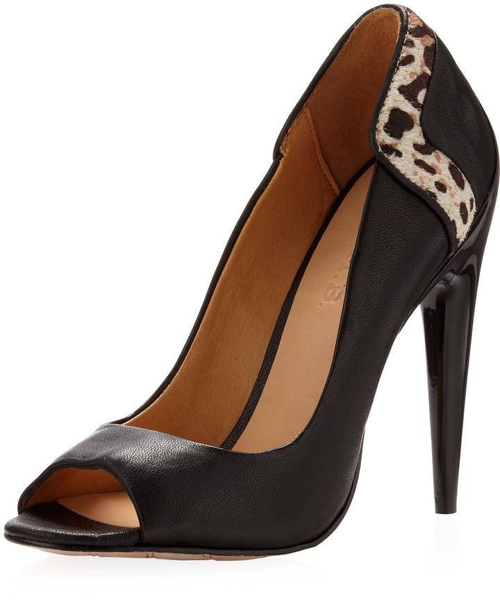 L.A.M.B. Dora Leopard-Print Heel Pump, Black/White