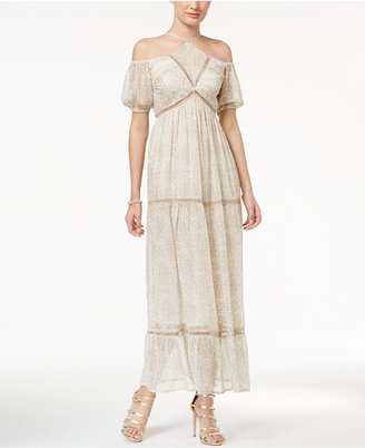 Disney Beauty and the Beast Juniors' Printed Off-The-Shoulder Maxi Dress $69 thestylecure.com