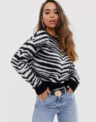 Asos Design DESIGN brushed zebra sweater