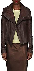 Rick Owens Women's Padded Blistered-Leather Biker Jacket-Raisin