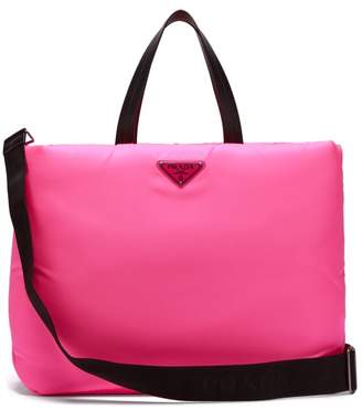 Prada Logo Embellished Padded Nylon Tote Bag - Womens - Pink