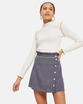 Topshop Spot Ruffle Mini Skirt
