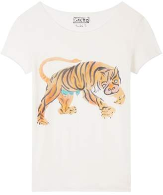 G. KERO Tiger Attack Short Sleeve Raw Edge Tee