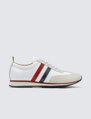 Thom Browne Running Shoe W/ RWB Stripe In Suede + Cotton Blend Tech