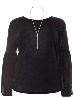 Quiz Curve Black Light Knit Frill Sleeve Necklace Top