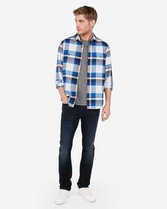 Express Blue Plaid Flannel Shirt