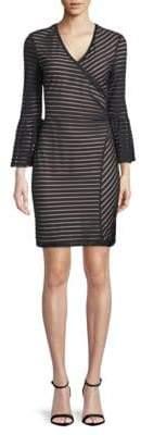 Nicole Miller Stripe Bell-Sleeve Sheath Dress