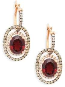 LeVian 14K Strawberry Gold, Vanilla Diamond, Chocolate Diamond & Pomegranate Garnet Earrings