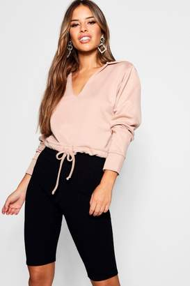boohoo Petite V-Neck Hooded Sweat Top