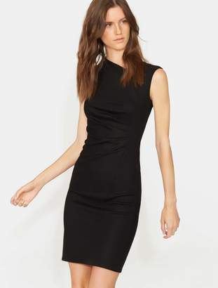 Halston Cap Sleeve Asymmetrical Neck Dress