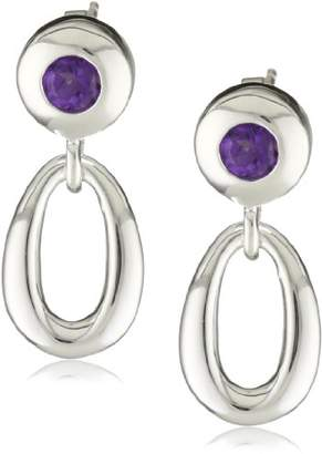 Zina Sterling Contemporary Collection Loop with Amethyst Drop Earrings